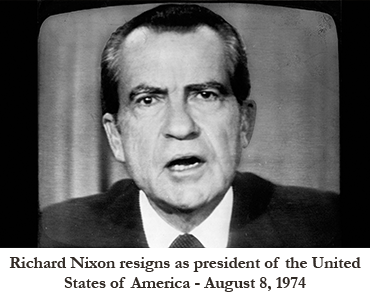 Nixon resigns on TV